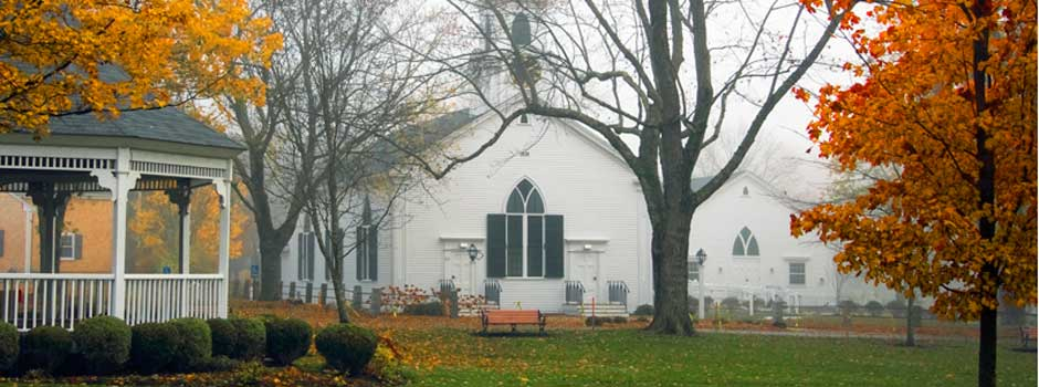 Dennis Union Church - foggy fall