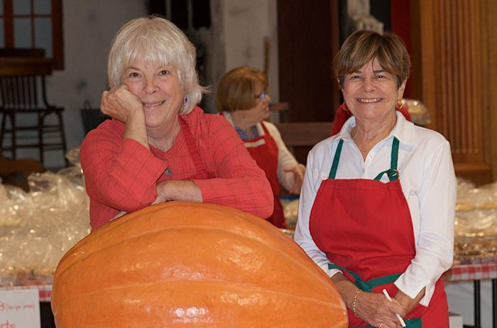 Maggie and Sue with huge pumpkin