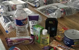 water bottle, sunscreen and snacks